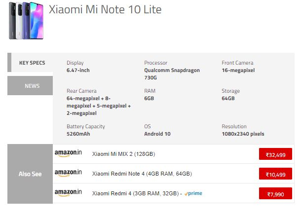 any Mi Note 10 Lite Price in India, Specifications ...